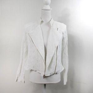 T605 Jennifer Lopez White Lace ZIP Blazer Large
